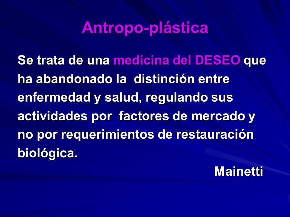 Antropo-plástica Se trata de una medicina del DESEO que