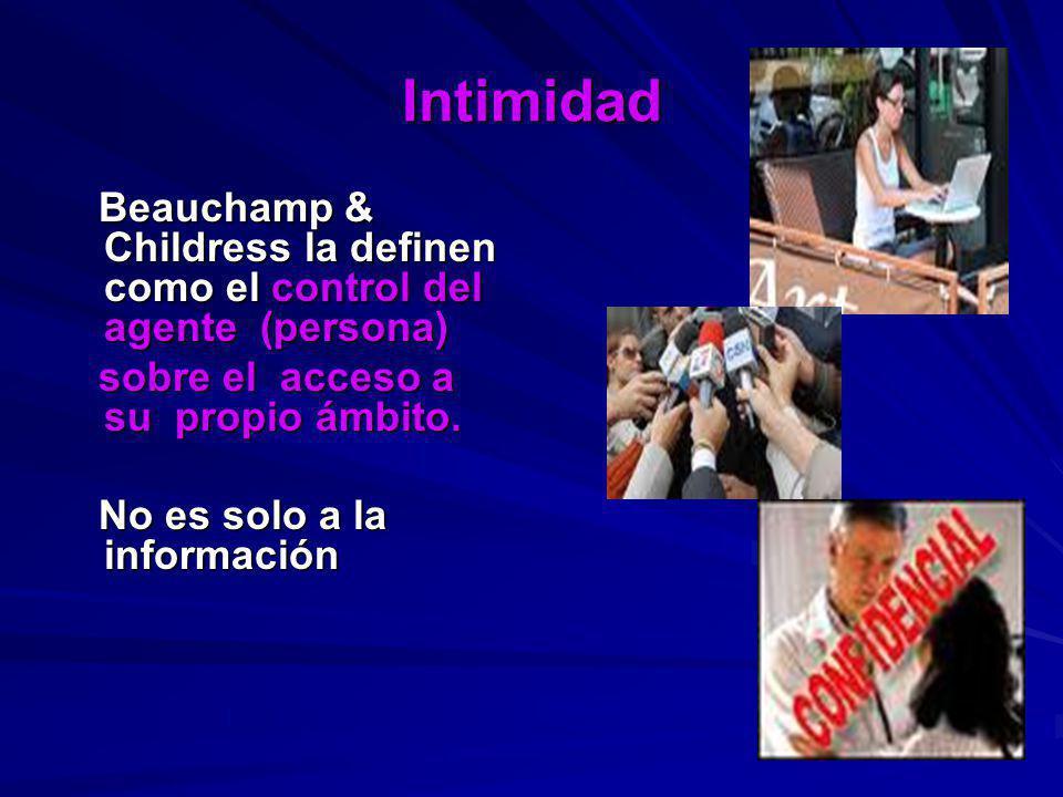 Intimidad Beauchamp & Childress la definen como el control del agente (persona) sobre el acceso a su propio ámbito.