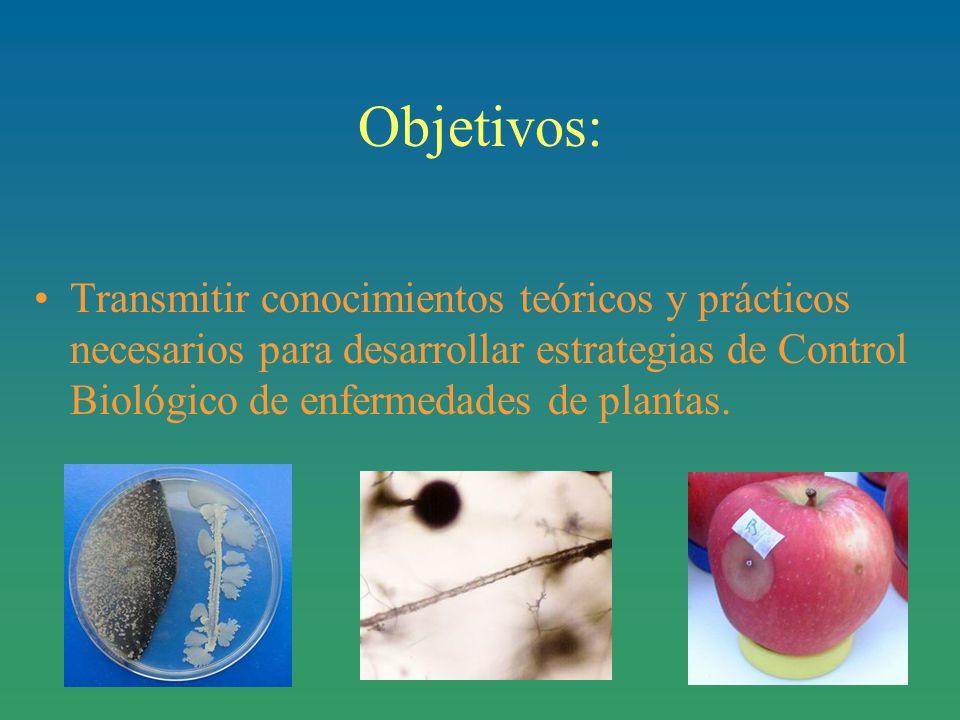Objetivos: Transmitir conocimientos teóricos y prácticos necesarios para desarrollar estrategias de Control Biológico de enfermedades de plantas.