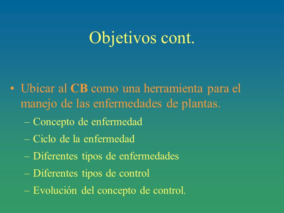 Objetivos cont. Ubicar al CB como una herramienta para el manejo de las enfermedades de plantas. Concepto de enfermedad.