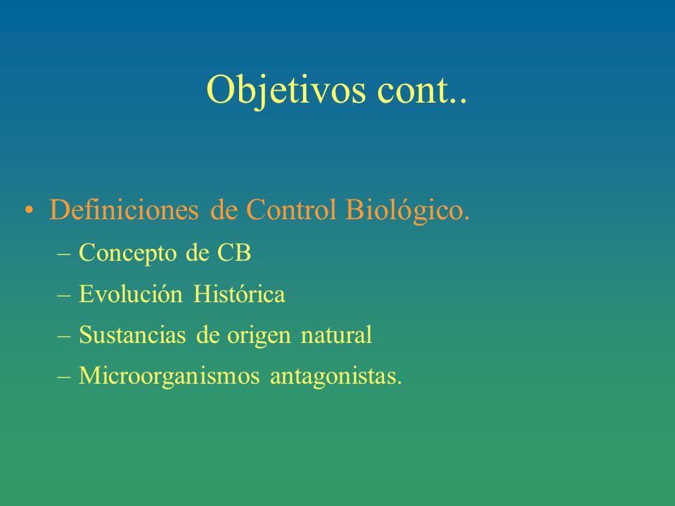 Objetivos cont.. Definiciones de Control Biológico. Concepto de CB