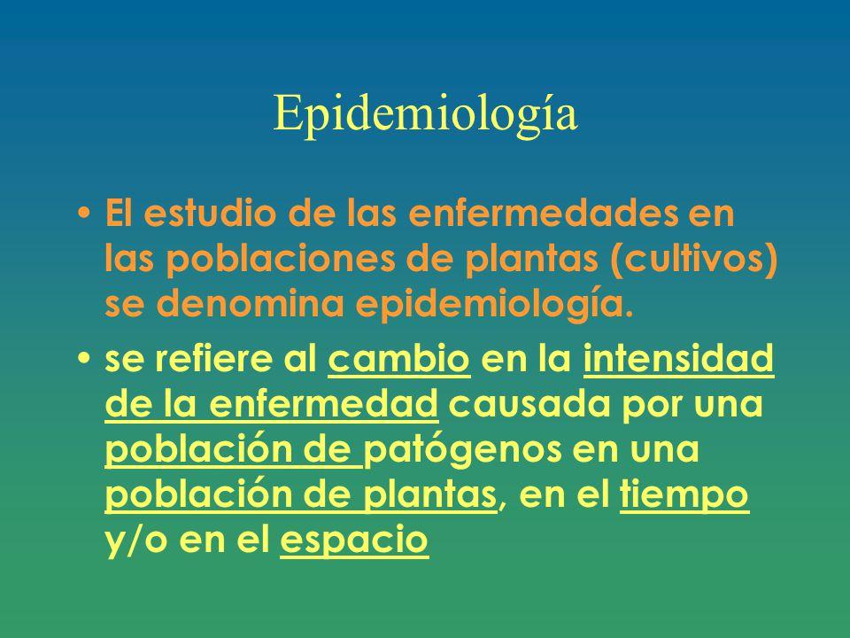 Epidemiología El estudio de las enfermedades en las poblaciones de plantas (cultivos) se denomina epidemiología.