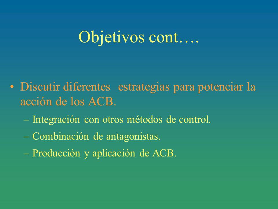 Objetivos cont…. Discutir diferentes estrategias para potenciar la acción de los ACB. Integración con otros métodos de control.