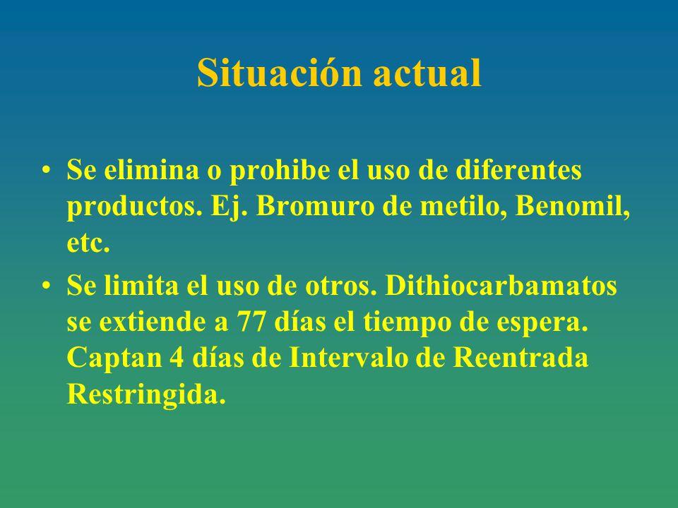 Situación actual Se elimina o prohibe el uso de diferentes productos. Ej. Bromuro de metilo, Benomil, etc.