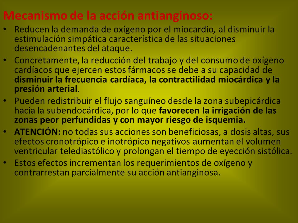 Mecanismo de la acción antianginoso: