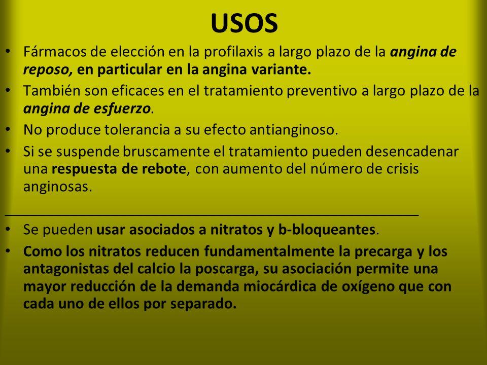 USOS Fármacos de elección en la profilaxis a largo plazo de la angina de reposo, en particular en la angina variante.