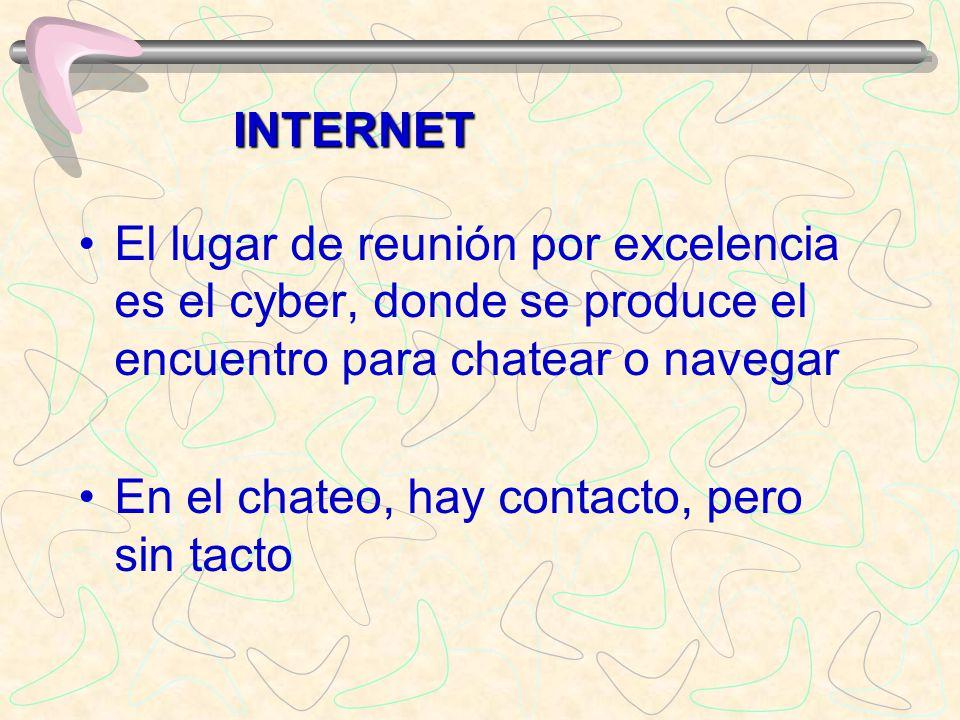 INTERNET El lugar de reunión por excelencia es el cyber, donde se produce el encuentro para chatear o navegar.
