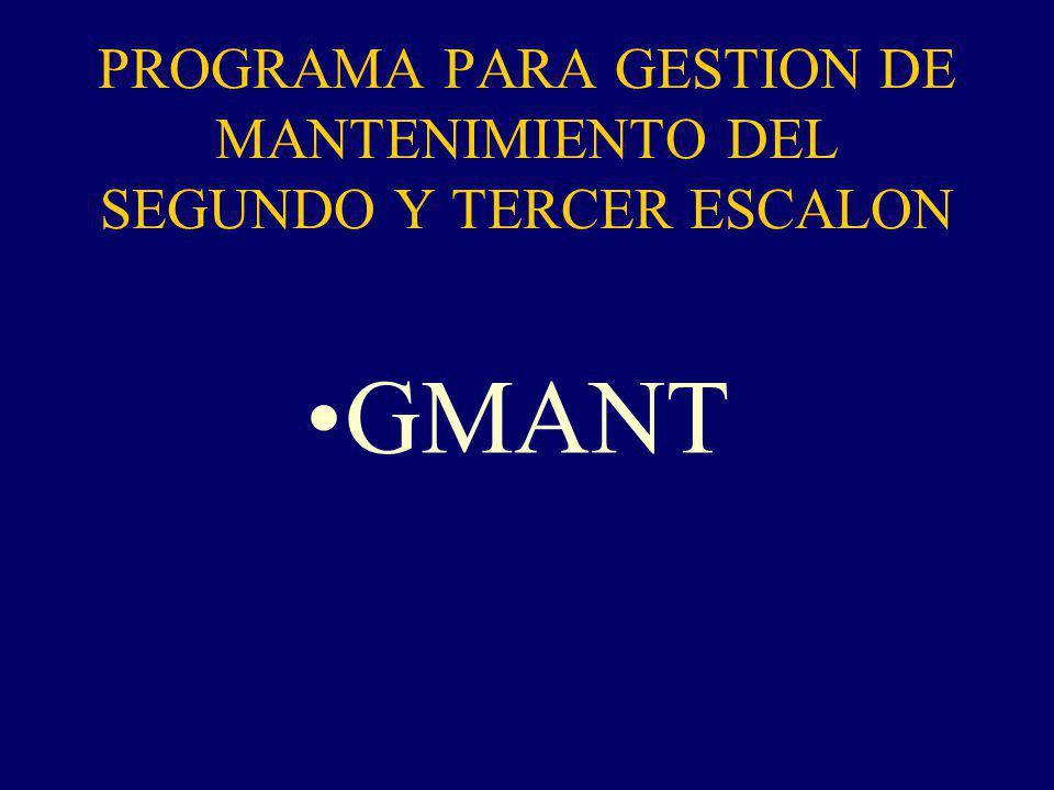 PROGRAMA PARA GESTION DE MANTENIMIENTO DEL SEGUNDO Y TERCER ESCALON