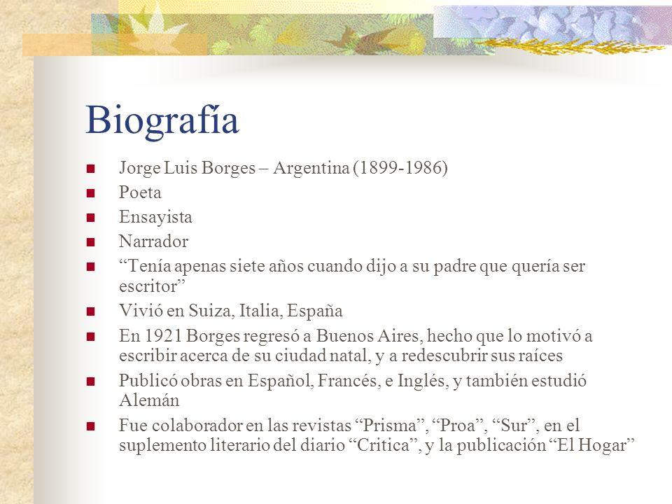 Biografía Jorge Luis Borges – Argentina (1899-1986) Poeta Ensayista