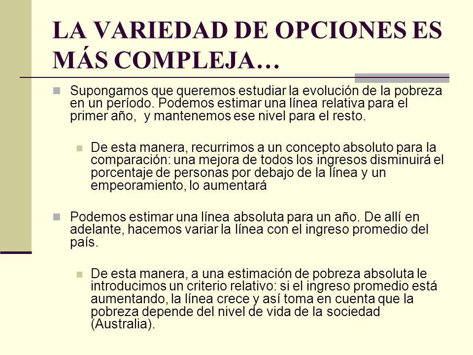 LA VARIEDAD DE OPCIONES ES MÁS COMPLEJA…