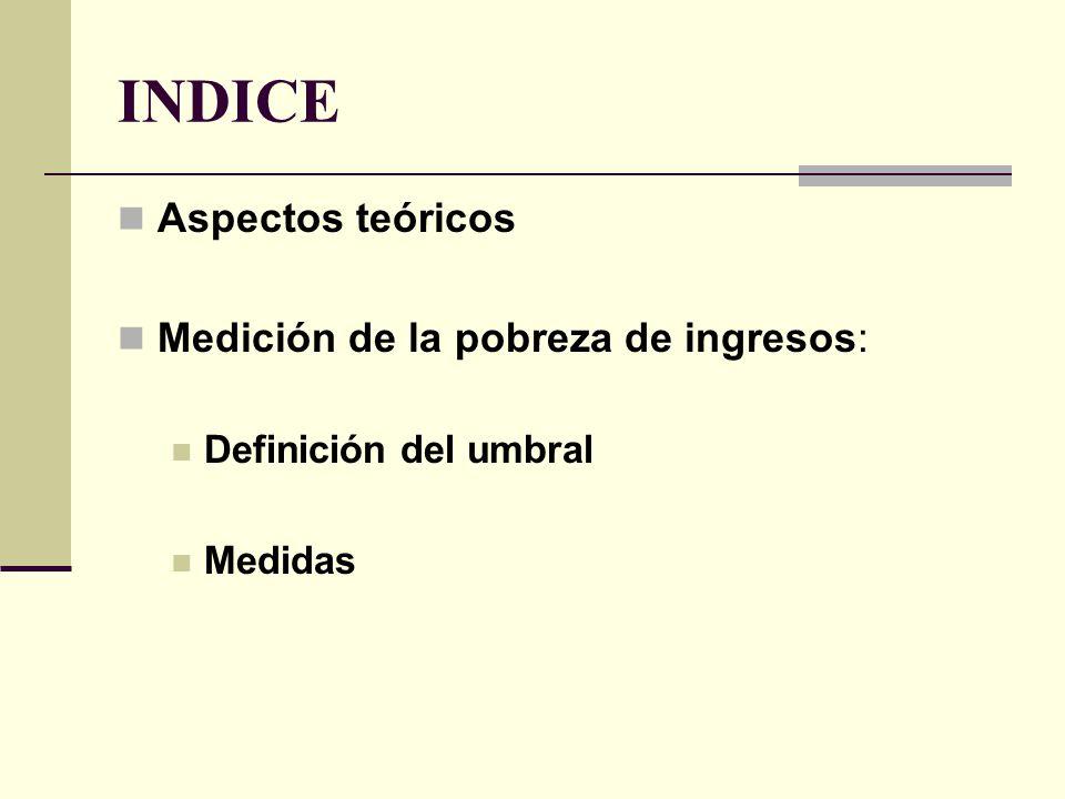 INDICE Aspectos teóricos Medición de la pobreza de ingresos: