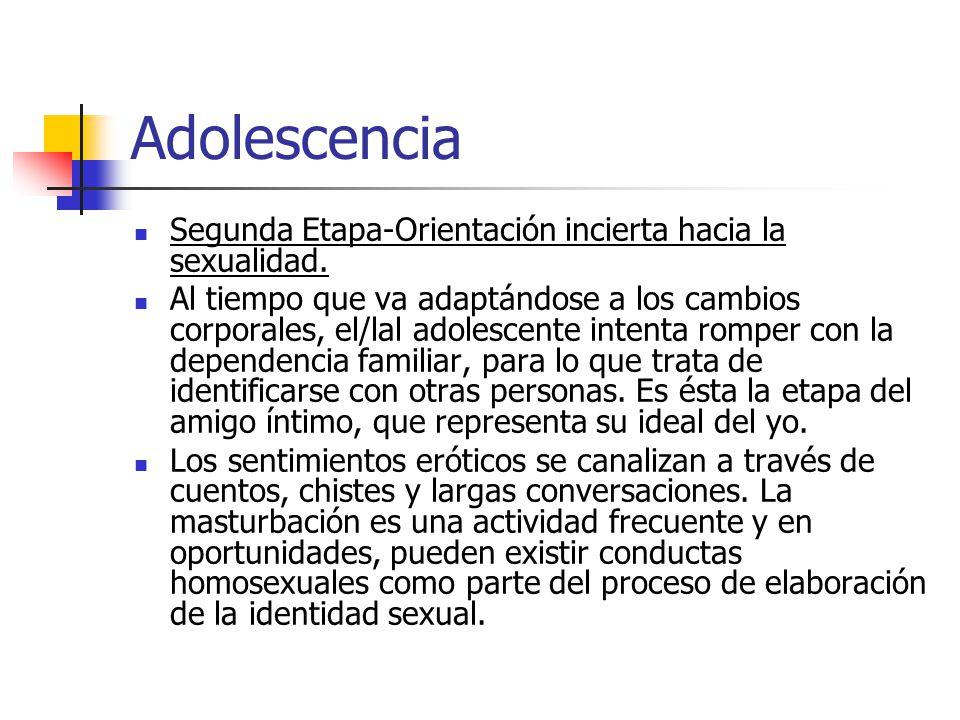 Adolescencia Segunda Etapa-Orientación incierta hacia la sexualidad.