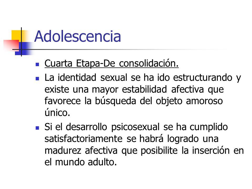 Adolescencia Cuarta Etapa-De consolidación.