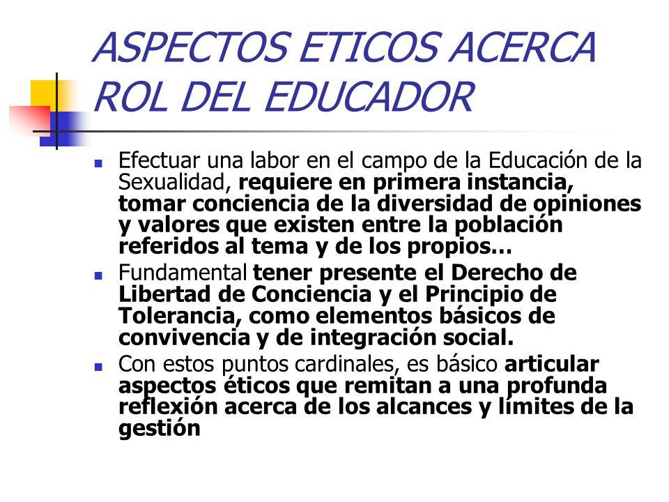 ASPECTOS ETICOS ACERCA ROL DEL EDUCADOR