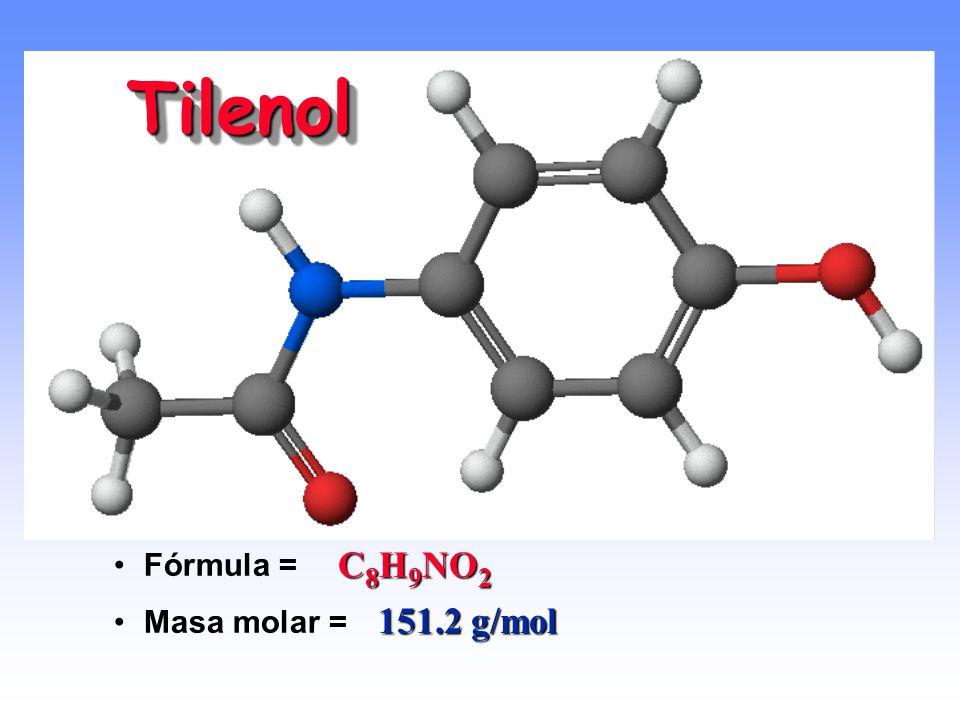 Tilenol Fórmula = Masa molar = C8H9NO2 151.2 g/mol
