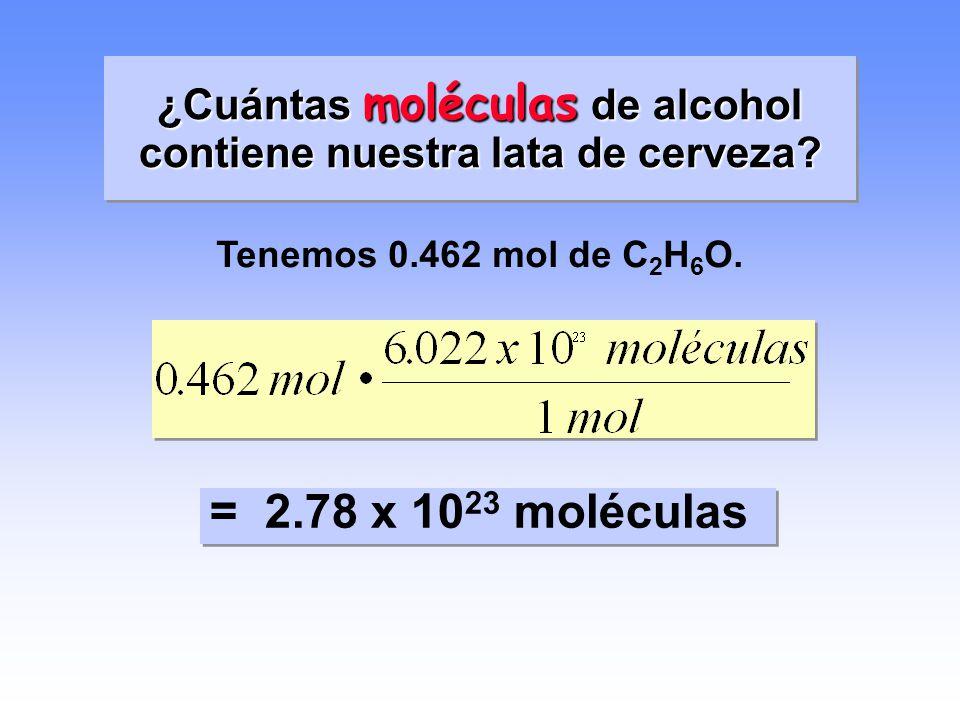 ¿Cuántas moléculas de alcohol contiene nuestra lata de cerveza