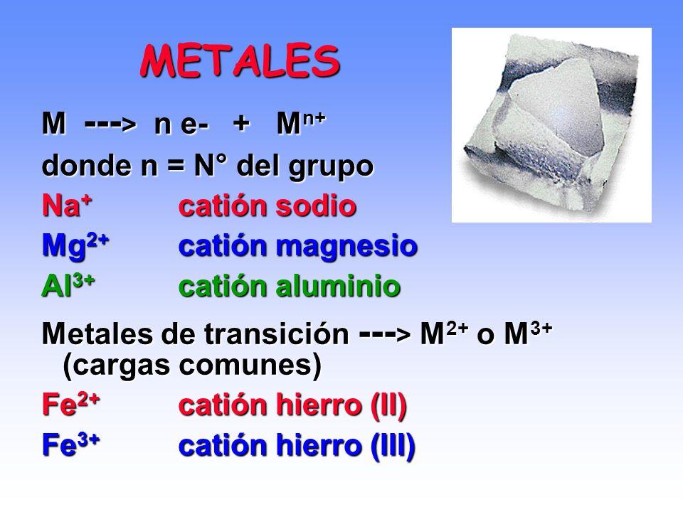 METALES M ---> n e- + Mn+ donde n = N° del grupo Na+ catión sodio