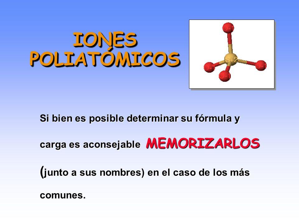 IONES POLIATÓMICOS Si bien es posible determinar su fórmula y carga es aconsejable MEMORIZARLOS (junto a sus nombres) en el caso de los más comunes.