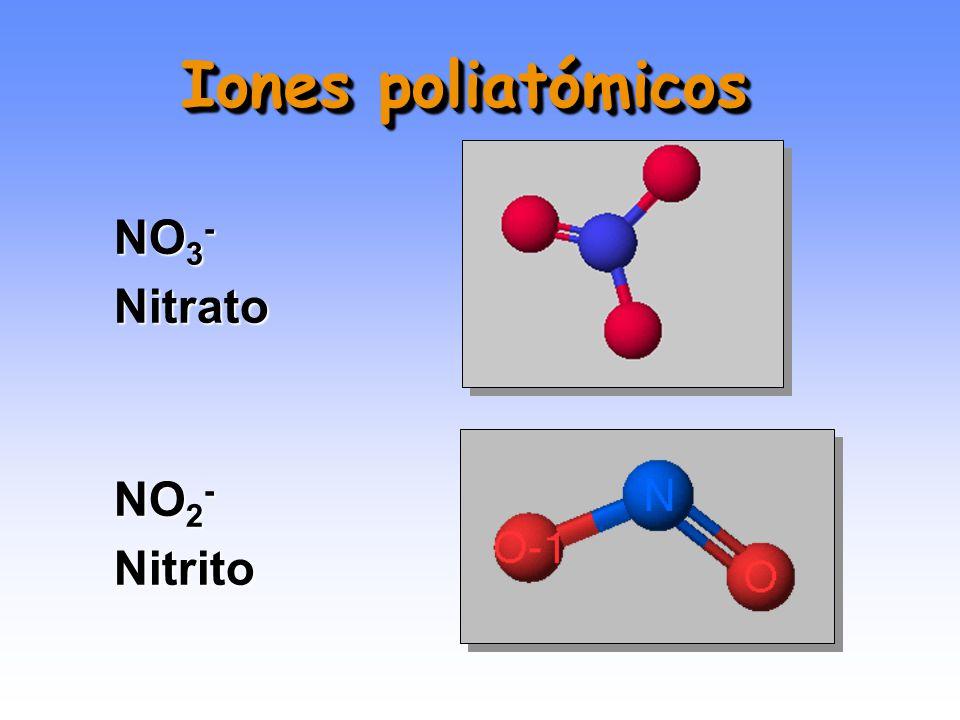 Iones poliatómicos NO3- Nitrato NO2- Nitrito