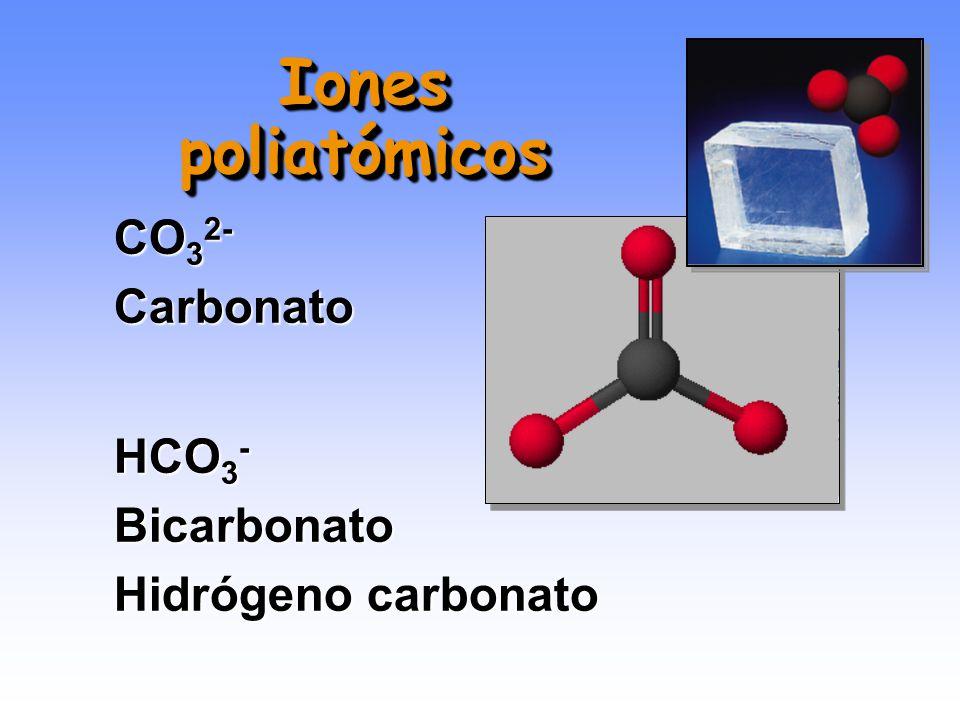 Iones poliatómicos CO32- Carbonato HCO3- Bicarbonato