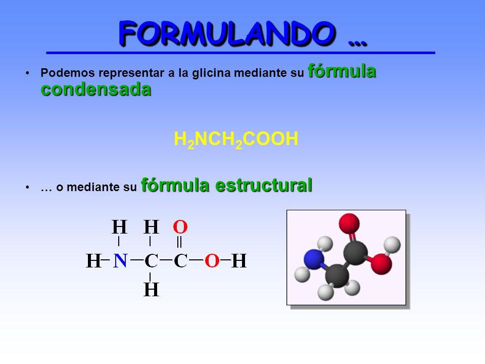FORMULANDO … Podemos representar a la glicina mediante su fórmula condensada.