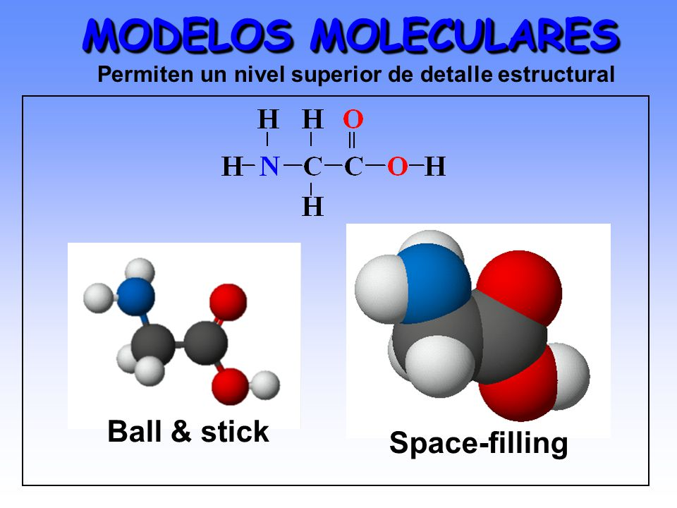 MODELOS MOLECULARES Ball & stick Space-filling