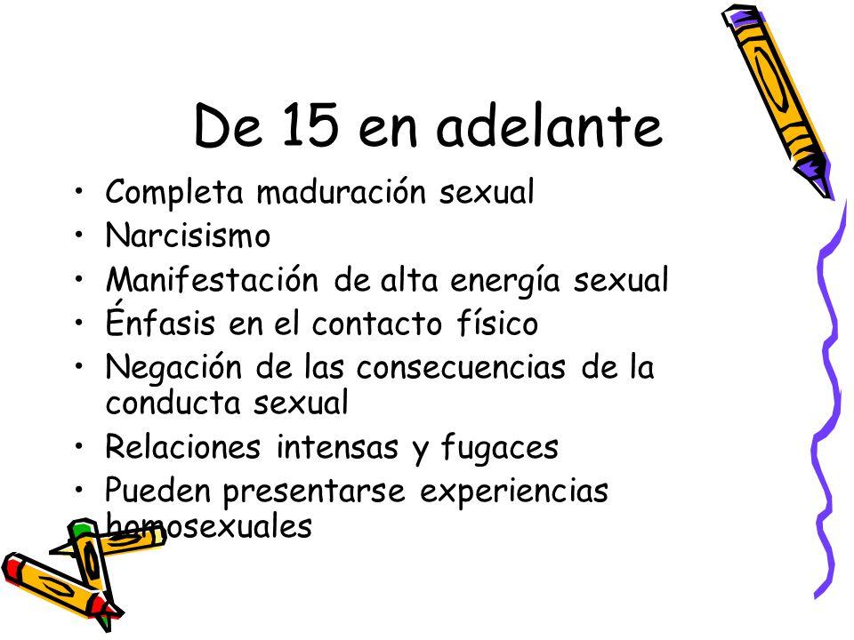 De 15 en adelante Completa maduración sexual Narcisismo