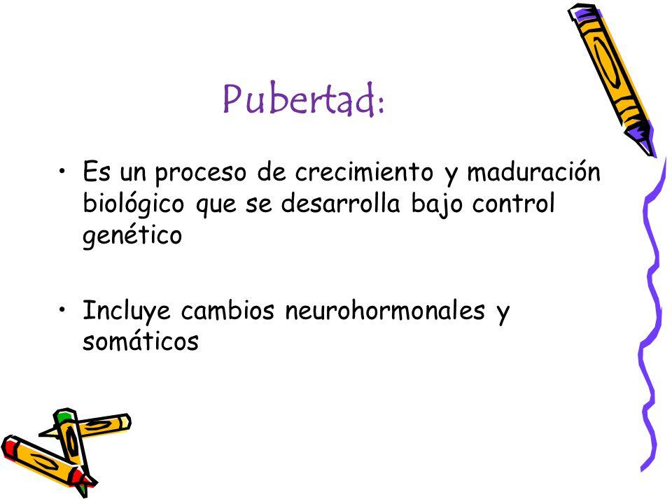 Pubertad: Es un proceso de crecimiento y maduración biológico que se desarrolla bajo control genético.