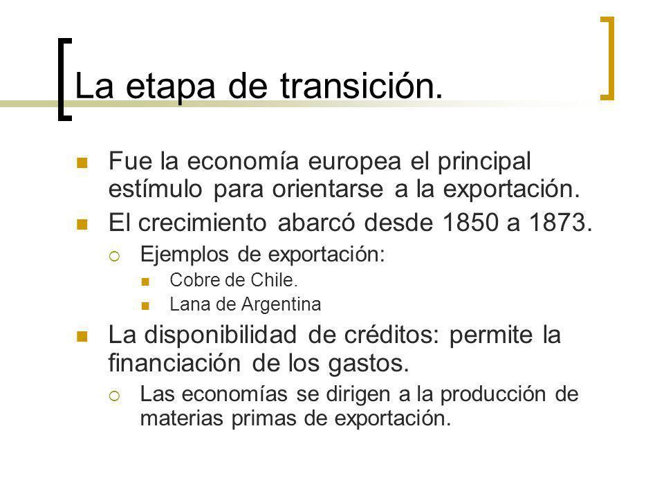 La etapa de transición. Fue la economía europea el principal estímulo para orientarse a la exportación.