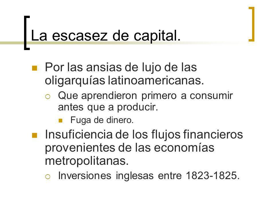 La escasez de capital. Por las ansias de lujo de las oligarquías latinoamericanas. Que aprendieron primero a consumir antes que a producir.