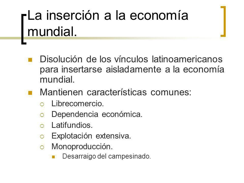 La inserción a la economía mundial.