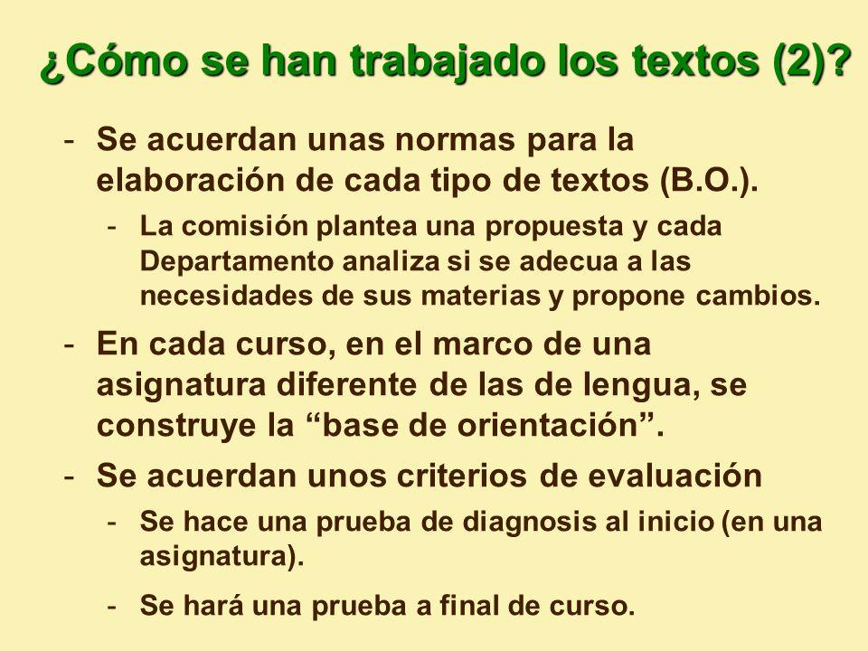 ¿Cómo se han trabajado los textos (2)