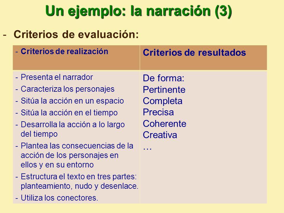 Un ejemplo: la narración (3)
