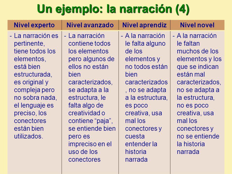 Un ejemplo: la narración (4)