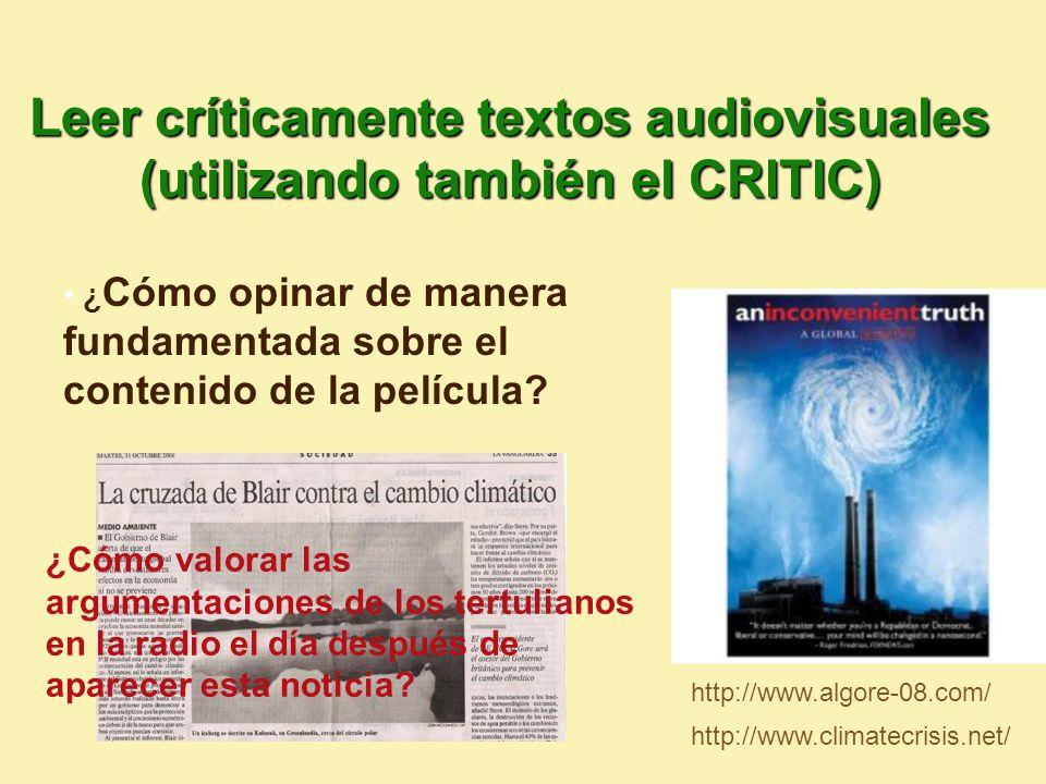 Leer críticamente textos audiovisuales (utilizando también el CRITIC)