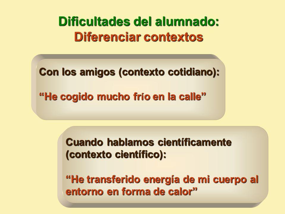 Dificultades del alumnado: Diferenciar contextos