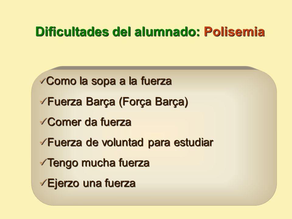 Dificultades del alumnado: Polisemia