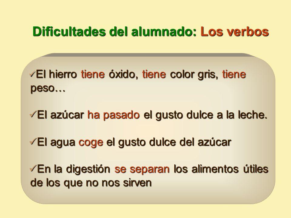 Dificultades del alumnado: Los verbos