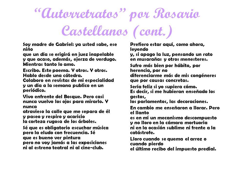 Autorretratos por Rosario Castellanos (cont.)