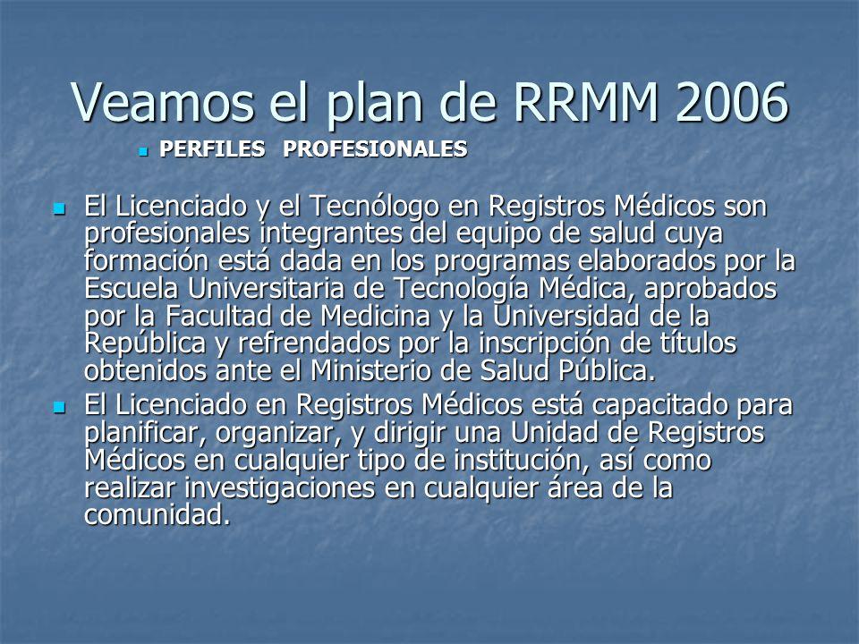 Veamos el plan de RRMM 2006 PERFILES PROFESIONALES.