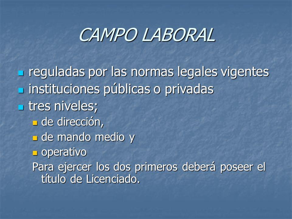 CAMPO LABORAL reguladas por las normas legales vigentes