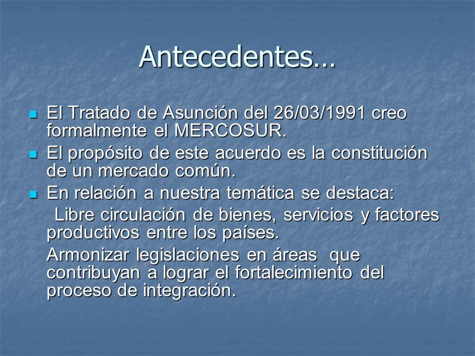 Antecedentes… El Tratado de Asunción del 26/03/1991 creo formalmente el MERCOSUR.