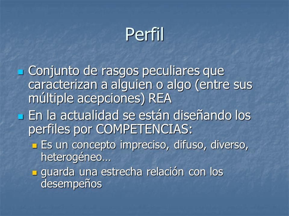 Perfil Conjunto de rasgos peculiares que caracterizan a alguien o algo (entre sus múltiple acepciones) REA.