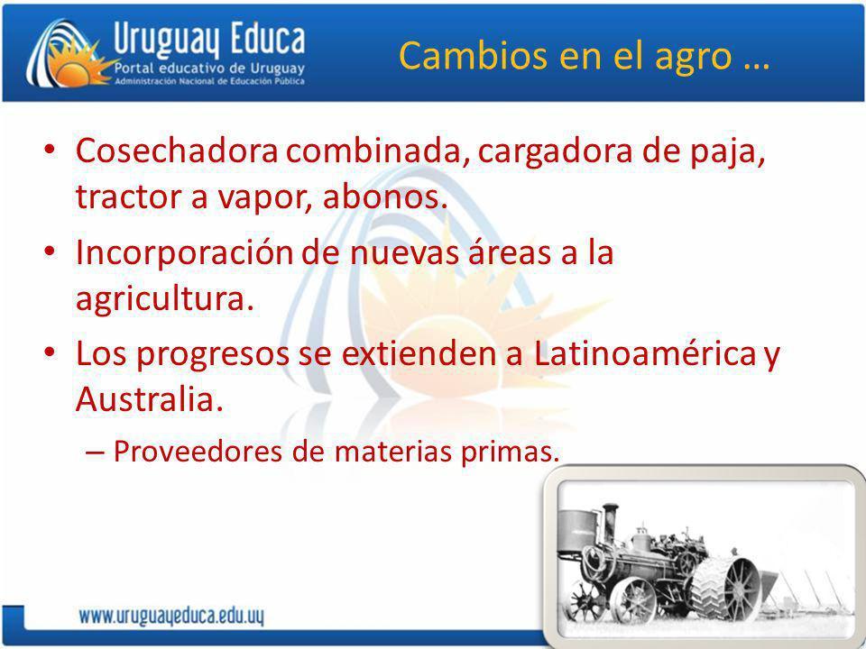 Cambios en el agro … Cosechadora combinada, cargadora de paja, tractor a vapor, abonos. Incorporación de nuevas áreas a la agricultura.