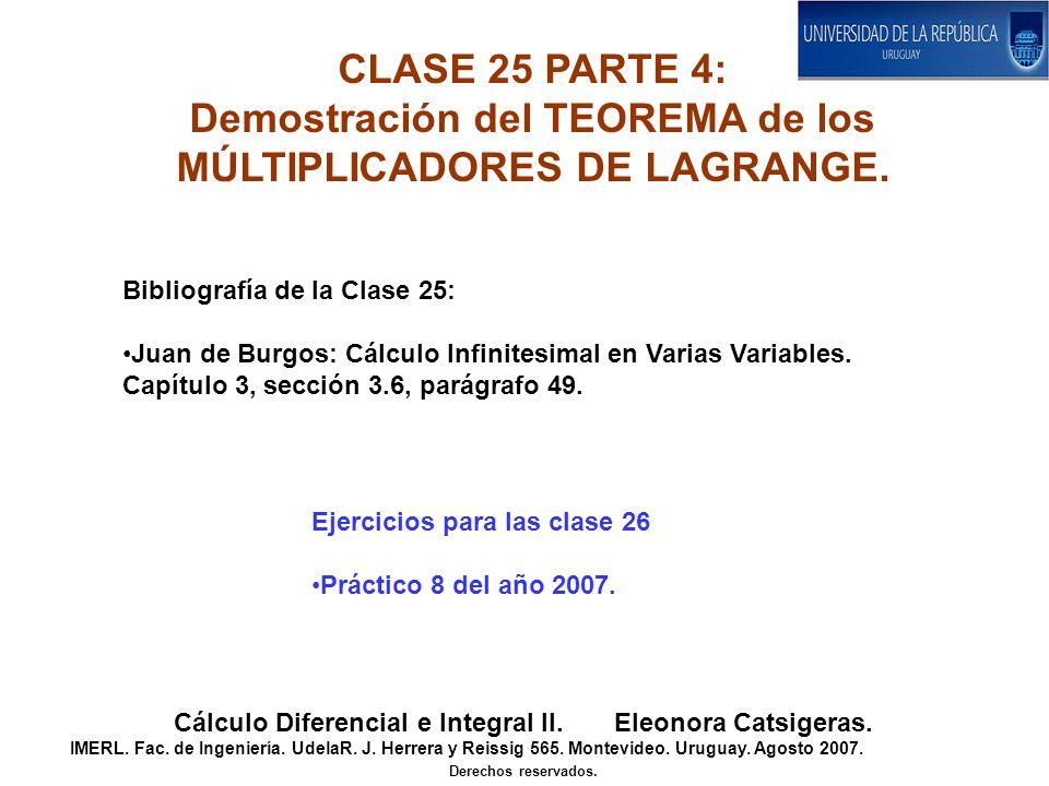 Demostración del TEOREMA de los MÚLTIPLICADORES DE LAGRANGE.