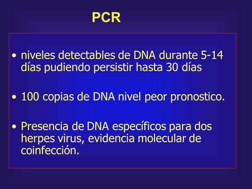 PCR niveles detectables de DNA durante 5-14 días pudiendo persistir hasta 30 días. 100 copias de DNA nivel peor pronostico.
