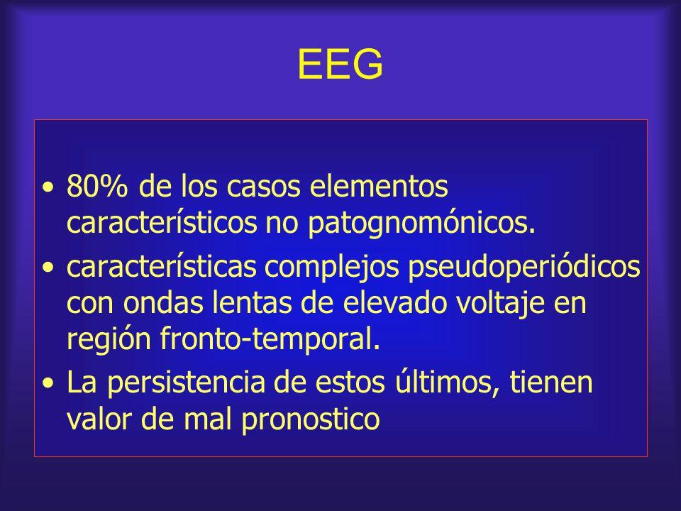 EEG 80% de los casos elementos característicos no patognomónicos.