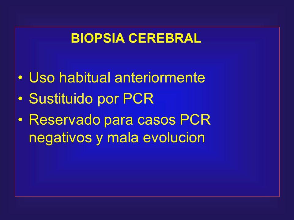 BIOPSIA CEREBRAL Uso habitual anteriormente. Sustituido por PCR.