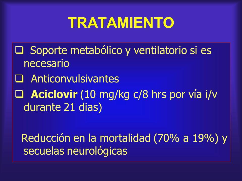TRATAMIENTO Soporte metabólico y ventilatorio si es necesario