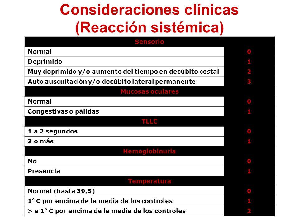 Consideraciones clínicas (Reacción sistémica)
